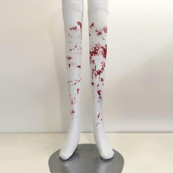 Music Legs ゾンビコスチューム用のストッキング 血のり ニーハイソックス 赤色の血のついた柄のゾンビの ホラー ハロウィン 衣装 仮装 グッズ パーティーグ-Halloween-trw0725-0187 1