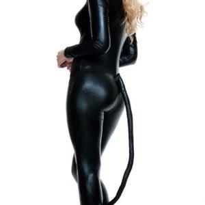 キャットスーツ ジャンプスーツ SM ボンテージ レザーフロントジップ-(キャットウーマン 小悪魔 大人 ボディスーツ セクシー ステージ しっぽ レザー 女王様 コスプレ 衣装 コスチューム-Halloween-trw0725-0216