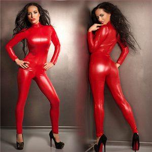 女王様 カッコイイ キャットスーツのコスチューム キャットスーツのコスチューム レディース(女性) コスプレやハロウィンに全身タイツ!赤 スーツ パーティーの衣装 ボンテージ  赤 ボディースーツ-Halloween-trw0725-0334