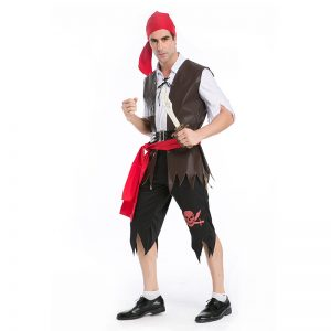 ハロウィン カリビアン ワンピース コスプレ 大人用 海賊 船長 キャプテン 変装 イベント 舞台衣装 男性用 ステージ衣装-Halloween-trw0725-0353