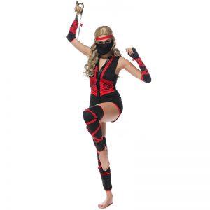 忍者 衣装 Ninja Costumes 女性用 ブラック ハロウィン 仮装パーティー-Halloween-trw0725-0439
