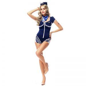 ハロウィン マリン 水兵さん 海軍 セーラー服 制服 ブルー ダンス イベント パーティー 仮装 コスチューム コスプレ 衣装-Halloween-trw0725-0457