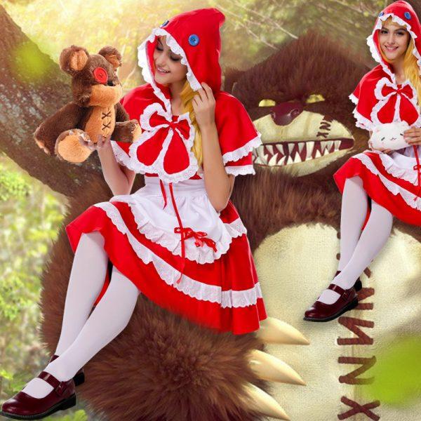 赤ずきんちゃん かつら 靴 ハロウィン コスプレ-Halloween-trw0725-0071 1