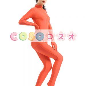全身タイツ オレンジ色 ライクラ・スパンデックス 大人用 ―taitsu-tights1479