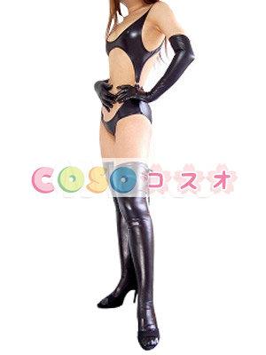 コスチューム衣装 セクシー オーダーメイド可能 メタリック ブラック―taitsu-tights0130