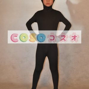 全身タイツ,ブラック 単色 子供用 変装コスチューム 顔部分が開いている全身タイツ ユニセックス―taitsu-tights0215