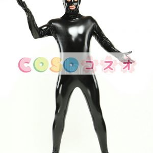全身タイツ PVC ブラック 目と口が開いている ユニセックス 大人用 コスチューム―taitsu-tights0356