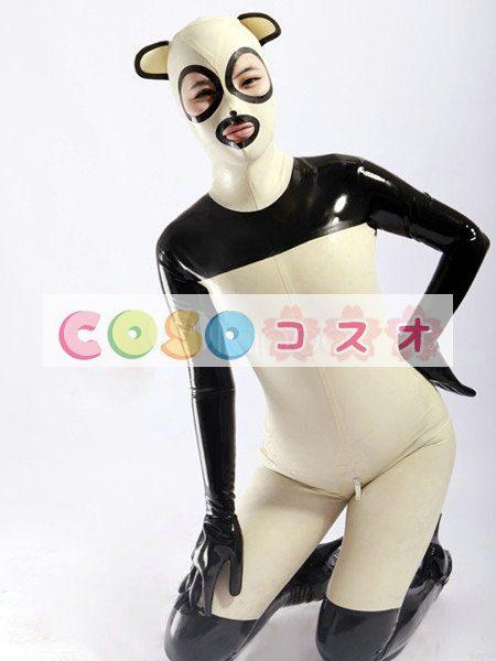 ラテックスキャットスーツ,コスチューム ユニセックス 大人用 パンダ風 可愛い―taitsu-tights0434