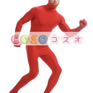 赤いオープンフェイス ユニセックス ライクラ スパンデックス全身タイツ スーツ―taitsu-tights0864