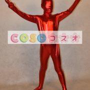 メタリック全身タイツ,レッド ユニセックス 子供用 コスチューム衣装 開口部がない  ―taitsu-tights1250 2