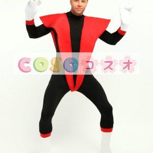 全身タイツ,スーパーヒーロー風 大人用 ユニセックス レッド&ブラック コスチューム ―taitsu-tights1271