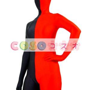 全身タイツ,レッド&ブラック ユニセックス カラーブロック 大人用 開口部のない全身タイツ 仮装コスチューム ―taitsu-tights1289