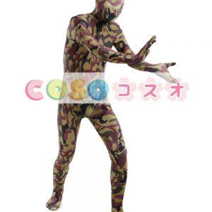 全身タイツ,迷彩柄 ブラウン コスチューム 開口部のない全身タイツ ユニセックス 大人用―taitsu-tights1295