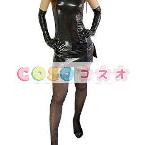 コスチューム衣装 メタリック オーダーメイド可能 女性用 大人用 ブラック セクシー―taitsu-tights0291