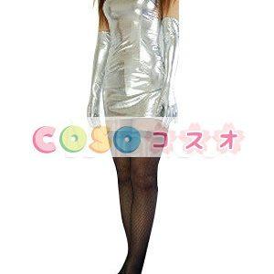 全身タイツ,メタリック 女性用 ホワイト セクシー 大人用 コスチュームドレス ―taitsu-tights0755