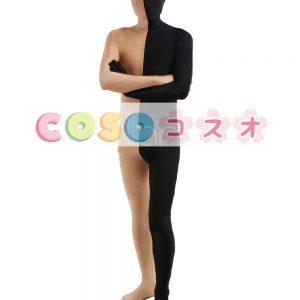 全身タイツ,ユニセックス ブラック&ブラウン カラーブロック 大人用 開口部のない全身タイツ 仮装コスチューム ―taitsu-tights1208