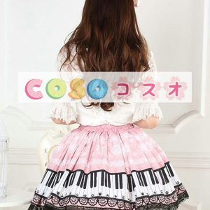 ピンク ロリィタスカート スウィート レーストリム ピアノ プリント ―Lolita0007