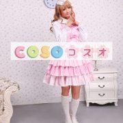 ロリータジャンパースカート,ピンク リボン ラッフル スィート 女の子らしさ満点 コットン  ―Lolita0008 2