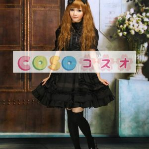 ブラック コットン ワンピース 半袖 レースアップ フリル リボン ロリィタワンピース ―Lolita0009