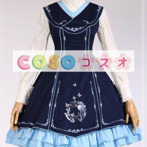 ロリータ服 ワンピース 蝶結び ジャンパー コットン スィート 刺繍入り カジュアル  ―Lolita0011