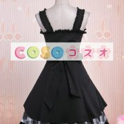 ロリィタジャンパースカート ギンガム ブラック コットン スウィート ―Lolita0012 2