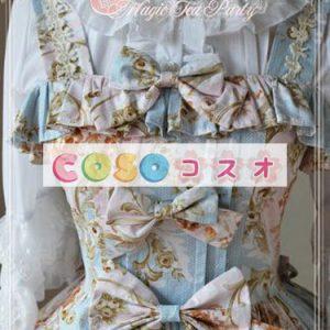 ロリィタジャンパースカート リボン 花柄 プリント フリル スウィート ―Lolita0016