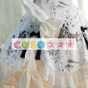 ロリィタワンピース チャイナドレス 長袖 チャイナインク 龍 ―Lolita0017