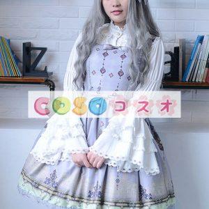 ロリィタワンピース 可愛い 合成繊維 パーティー リボン プリント柄  ―Lolita0021