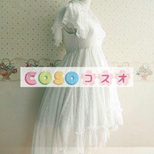 スウィート ホワイト ロリィタワンピース 半袖 レース ツバメテール  ―Lolita0023