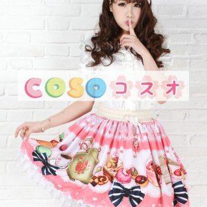 スウィート ブラッシュピンク ロリィタスカート ショットスカート ポリエステル レーストリム ―Lolita0026