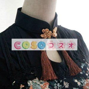 ブラック ロリィタワンピース 半袖 チャイナドレス 牡丹 プリント ―Lolita0031