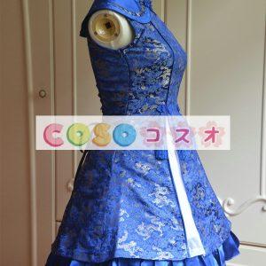 ロリィタドレス ブルー チャイナドレス ノースリーブ レースアップ サテンファブリック ―Lolita0033