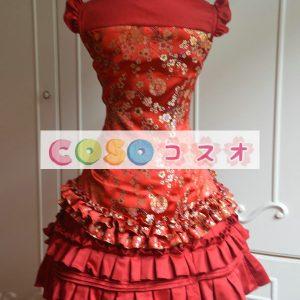 ロリィタドレス サテンファブリック レッド チャイナドレス ノースリーブ 梅の花 フリル ―Lolita0053