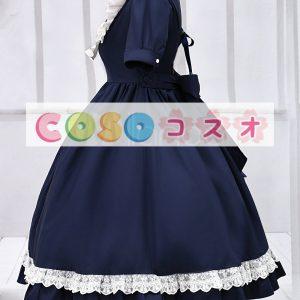 ディープブルー ロリィタワンピース 半袖 折り襟 レーストリム ―Lolita0056
