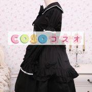 コットン ブラック ロリィタワンピース レースアップ フリル リボン 長袖 ―Lolita0059 2
