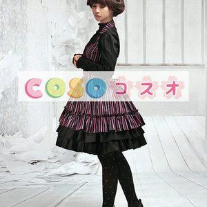 ジャンパースカート Vネック ロリィタ服 ポリエステル フリル ―Lolita0079
