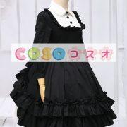 ゴシック ブラック ロリィタワンピース 長袖 フリル ―Lolita0088 2