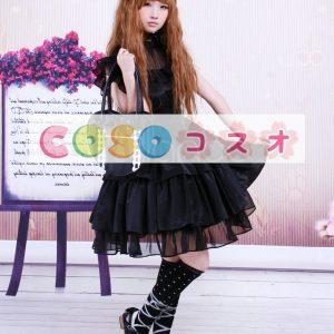 ブラック ロリィタワンピース レーヨン&コットン フリル ウエストベルト ―Lolita0091