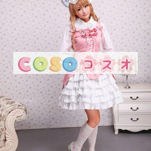 スウィート ピンク コットンジャンパースカート ろりぃた服 レースアップ リボン フリル ―Lolita0117