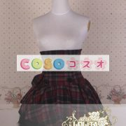 ギンガム ハイウェスト ロリィタスカート サロペットスカート ボタン リボン フリル―Lolita0137 2