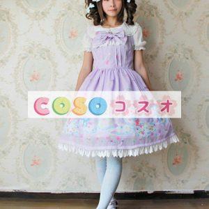 スウィート シフォン ジャンパースカート ベアプリント レーストリム ロリィタ服 ―Lolita0171