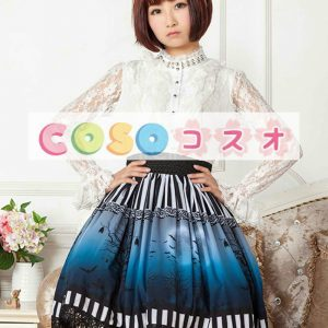 ショットスカート ロリィタスカート ブルー ストライプ プリント ―Lolita0184