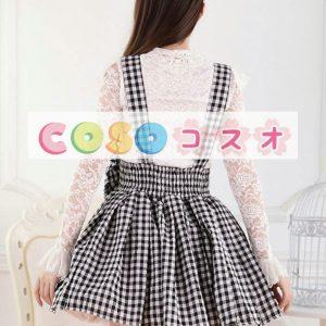 ブラック ロリィタスカート ギンガム サロペットスカート リボン ―Lolita0187