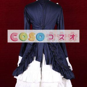 ブルー ワンピース 長袖 フリル コットン リボン ―Lolita0223