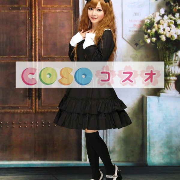 コットン ブラック ロリィタワンピース 長袖 学園風 フリル ―Lolita0237