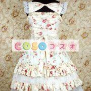 かわいいノースリーブ コットン ベージュ ロリータ ドレス ―Lolita0243 2
