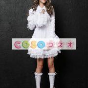 長袖ワンピース 姫袖 レーストリム リボン 無地 レースアップ ロリィタワンピース ―Lolita0264 2