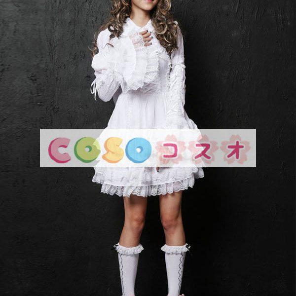長袖ワンピース 姫袖 レーストリム リボン 無地 レースアップ ロリィタワンピース ―Lolita0264