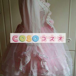 スウィート コットン ワンピース ピンク 長袖 レーストリム リボン ―Lolita0305