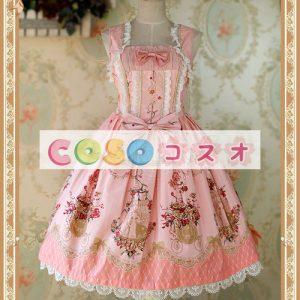 ジャンパースカート コットン 花柄 レーストリム リボン スウィート ―Lolita0319